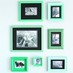 DIY- paint mismatching frames in a common color palette for a chic look.