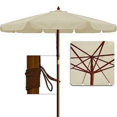 Beige Garden Parasol Patio Umbrella Wooden Pole Outdoor Sun Shade Canopy Ø350cm