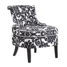 """Diana Swoop Back, Cap Arm Accent Chair – Black & White Floral Chenille Fabric with White Welting    24-3/4"""" x 29-1/2"""" x 31-3/4"""" tall, Seat Height: 18"""""""