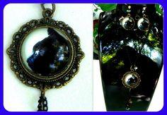 Glass Jewellery Sets – Trendy jewelry SET bronze - Black cat cabochon – a unique product by CamelysUnikatBijoux on DaWanda