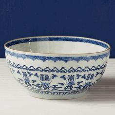 """16"""" Dia Chinese Blue & White Porcelain Imperial Bowl"""