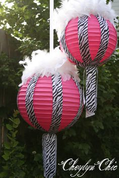 Hot Pink and Zebra Stripe Ribbon and Feathers Paper Lanterns Medium