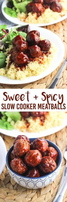 Sweet and spicy slow cooker meatballs will be a hit as an appetizer or as a main dish. They're coated in a thick, spicy, and just sweet enough sauce that couldn't be easier. Simple prep for the crock pot and minimal clean-up!