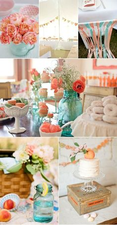teal and peach wedding | Love peach and teal | Wedding-Perfect spring wedding colors except with Tiffany Blue