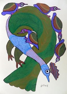 Must Art Gallery is the best among all art galleries in Delhi for Tribal Art Forms and Tribal and Folk Art Paintings in India. Visit our website and buy modern and contemporary art paintings. Gond Painting, Indian Folk Art, Summer Art, Drawing For Kids, Best Artist, Artworks, Roses, Birds, Paintings