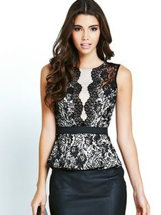 Lipsy Lace Peplum Top with Mesh Detail, http://www.littlewoodsireland.ie/lipsy-lace-peplum-top-with-mesh-detail/1374126382.prd