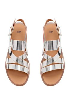 Sandals: Imitation leather sandals with an adjustable ankle strap with elastic and a metal buckle, imitation leather insoles and rubber soles. Women's Shoes, Shoes Flats Sandals, Low Heel Sandals, Ankle Strap Shoes, Shoe Boots, Wrap Shoes, Strap Sandals, Pretty Sandals, Pretty Shoes