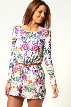 Daisy Floral Playsuit With Belt £25 http://www.boohoo.com/playsuits/daisy-floral-playsuit-with-belt/invt/azz54398