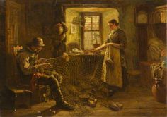 The Fisherman's Cottage (Mending the Old Salmon Net) by R. Ross, 1881  Oil on canvas  Aberdeen Art Gallery & Museums