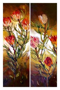 Panels of proteas Flower Paintings, Colorful Paintings, Art Paintings, Protea Art, Protea Flower, Paint Flowers, Wild Flowers, Flower Photography, Art Photography