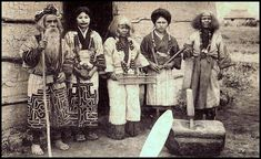THE AINU INHABITANTS OF HOKKAIDO.  From a ca.1920 collotype photograph published in Japan. Photographer unknown.