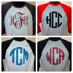 $19.99 Monogram 3/4 Sleeve Baseball Shirt by LollypopKids1998 on Etsy
