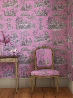 Toile de jouy Balleroy, by Manuel Canovas Pink Toile Wallpaper, Fabric Wallpaper, Of Wallpaper, Pattern Wallpaper, Antique Wallpaper, Matching Wallpaper, Bathroom Wallpaper, Apartment Therapy, Classic Wallpaper