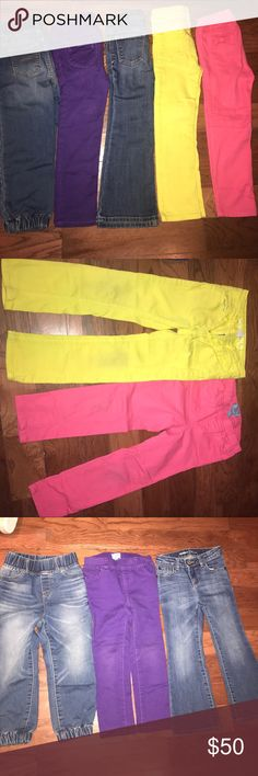 Bundle of girl GAP jeans All 5 (2 blue, 1 yellow, 1 pink & 1 purple) in great used conditions! No rips or stains except for the yellow and pink wth some marks on knees (please see pic 2) all size 4 GAP Bottoms Jeans