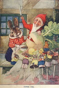Supper Time | Is it just me or does that gnome look like he is going to have that bunny with his veggies?