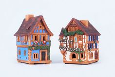 Ceramic incense burners - miniature French houses. Handmade by Midene (Set of 2 items) (R231+R264) by MideneDesignStudio on Etsy