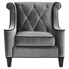 Barrister Arm Chair in Gray Velvet