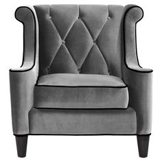 Barrister Arm Chair in Gray Velvet
