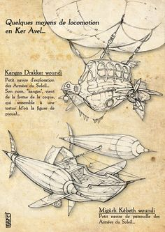 "The Airship.   You can read:  ""Kangas Drakkar woundi:  Little exploration airship of the Sun Army. Its name, ""Kangas"" , comes from the appearance of its hull, which looks like a ""kangas turtle"" ( --}wood carving's prow = head turtle)  Migùrh Kébeth woundi:  Little surveillance airship of the Sun Army."""