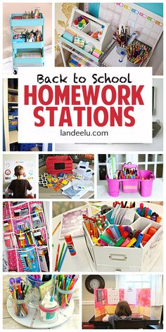 Back to School Homework Stations - I love these ideas to get the kids motivated to do homework when they head back to school! Keep your homework station organized and full of inspiration! Homework Station Diy, Homework Area, Homework Caddy, Homework Center, School Doodle, Diy École, Back To School Organization, Kids Homework Organization, Organization Station