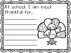 Thanksgiving Writing Papers - 9 different prompts perfect for writing centers during the month of November. Write, color, and hang for a Thanksgiving bulletin board, or make a class book.