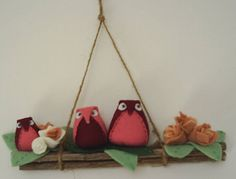 FREE POSTAGEfamily of owlshousewarmingburgandy felt by fraline, €18.00