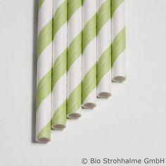 Papiertrinkhalm Streifen lindgrün
