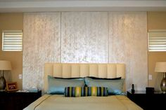 Both Modern Masters Metallic Paint and Metallic Plaster create a unique finish for a bedroom wall and headboard | Project by Kelly Peterson of Layers of Color | Modern Masters Cafe Blog Feature