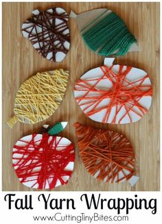 Fine Motor Fall Yarn Wrapping.  Great toddler, preschool or elementary activity to promote fine motor and sensory development.  Perfect for a fall or autumn theme unit.