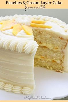 This Moist Peaches and Cream Layer Cake is always a crowd pleaser! Perfect for summer parties! This Moist Peaches and Cream Layer Cake is always a crowd pleaser! Perfect for summer parties! Brownie Desserts, Oreo Dessert, Mini Desserts, Just Desserts, Dessert Recipes, Delicious Desserts, Holiday Desserts, Cupcakes, Cupcake Cakes