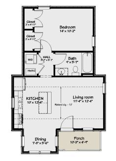 1 Bedroom House Plans, Guest House Plans, Small Cottage House Plans, Small House Floor Plans, Cabin Floor Plans, Guest Houses, Guest Cottage Plans, Small Modern House Plans, The Plan