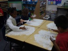 Snow math--use shaving cream on the desk and students have to solve math stories by writing addition or subtraction sentences.