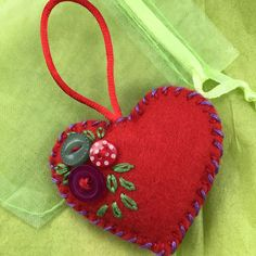 Cobalt blue hand embroidered felt heart brooch pin with tiny Just Love, Felt Brooch, Brooch Pin, Mini Bunting, Tiny Heart, Inexpensive Gift, Flower Brooch, Fabric Scraps, Quilt Making