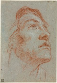 The Head of a Young Man Looking Upwards to the Right, before 1752, Giovanni Battista Tiepolo (Italian, 1696-1770), red chalk (with stumping) over black chalk, heightened with white chalk, Sheet: 22.20 x 15.30 cm (8 11/16 x 6 inches); Secondary Support: 22.20 x 15.30 cm (8 11/16 x 6 inches).  | Cleveland Museum of Art