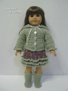 "Crochet Pattern Hooded Sweater Set Fits American Girl Doll & most 18"" Dolls"