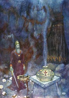 Prospero.- Graves at my command / Have waked their sleepers. Shakespeare's Comedy of 'The Tempest' (Act V, scene I) illustrated by Edmund Dulac (1908)
