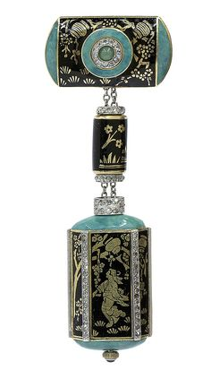 Art Deco Patek Philippe enamel and diamond Lapel watch, Circa 1925 Dial: stamped Patek Philippe ...