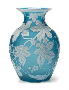 AN EXHIBITION THOMAS WEBB & SONS BLUE AND WHITE CAMEO GLASS VASE  -  DATE STAMPED MARK, TIFFANY & CO. PARIS EXHIBITION 1889 THOMAS WEBB & SONS GEM CAMEO