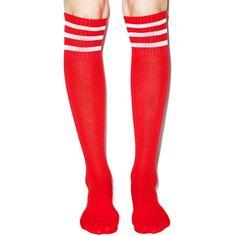 Varsity Valentine Knee High Socks ($10) ❤ liked on Polyvore featuring intimates, hosiery, socks, tights, striped socks, red knee high socks, pink knee socks, red socks and red striped socks