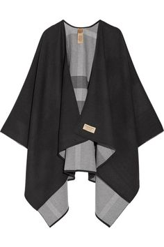 Burberry - Reversible Checked Merino Wool Wrap - Charcoal - One size