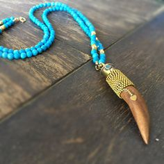 Turquoise Necklace  Horn Jewelry  Long  by jewelrybycarmal on Etsy