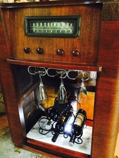 Antique Radio wine bar   and storage cabinet