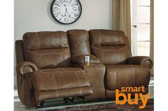 Brown Austere Reclining Loveseat with Console View 1