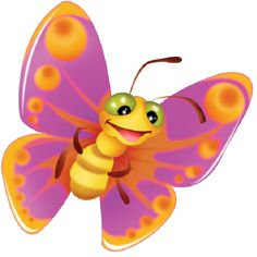 Cute Butterfly Cartoon Clip Art Images On A Transparent Background