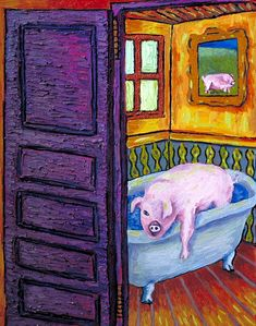 Lounge pig cigar reproduction of painting 8.5x11  artist prints animals
