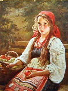 Russian costume in painting. Victor Karlovich Shtember (1863 – 1921). Ripe Fruits. 1900. #art #painting #Russia