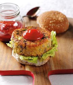 Mexican Veggie Burgers with Sriracha Ketchup - The Happy Foodie