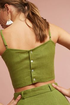 Slide View: 3: Linen Cropped Cami