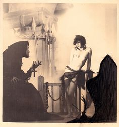 "William Mortensen  Chained Nude With Monk c 1926 - 1927  from the series ""A Pictorial Compendium of Witchcraft"""