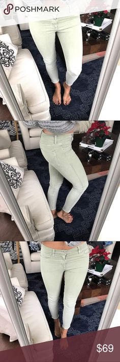 "Nico Midrise Ankle Pale Green Hudson Jeans 👖 Brand new, without tags. Measure approx. 35""Lx26"" in seam x 14.5"" around waist laying flat. Incredible quality, I so wish they could fit me well! 😩 Super soft & stretchy! Hudson Jeans Jeans Ankle & Cropped"